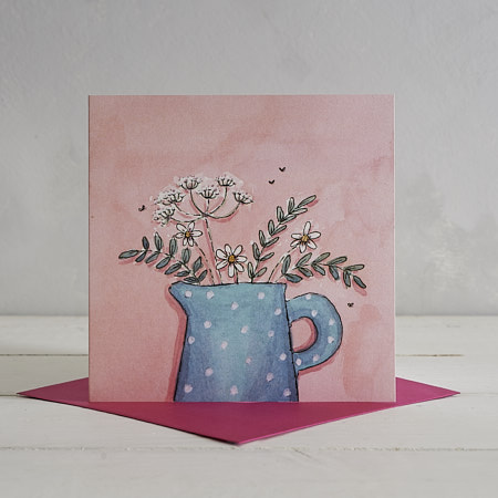 Buy Blue Spotty Jug Greetings Card from Helen Wiseman Illustration