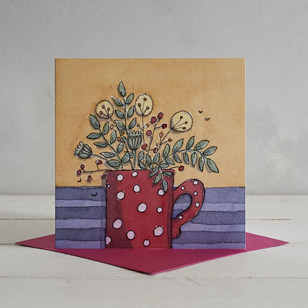 Buy Red Potty Mug Greetings Card from Helen Wiseman Illustration