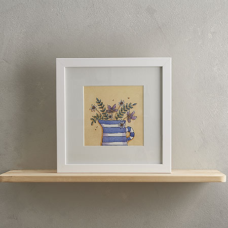 Buy Blue Stripey Jug Print from Helen Wiseman Illustration