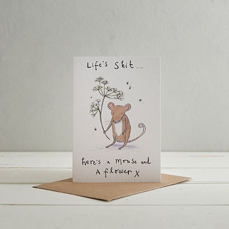 Buy 'Life's Shit' Mouse & Flower Greetings Card from Helen Wiseman Illustration