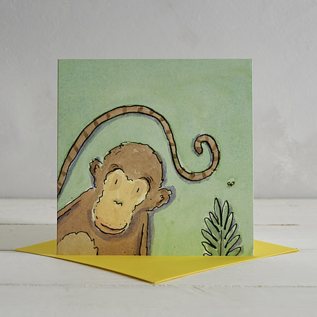 Buy Monkey Greetings Card 'Charley' from Helen Wiseman Illustration