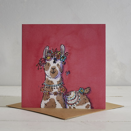 Buy Flower Power Llama Greetings Card 'Lucille' - Red from Helen Wiseman Illustration