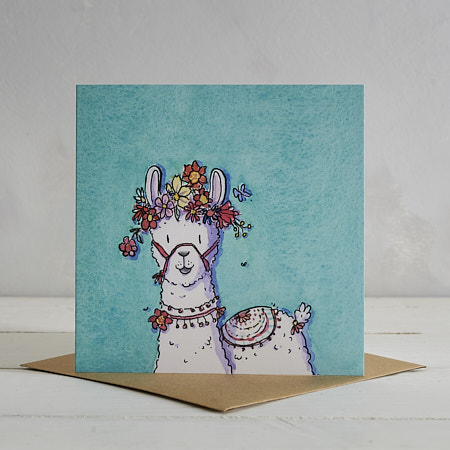 Flower Power Llama Greetings Card 'Loretta' - Blue