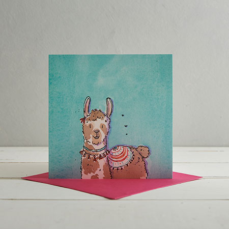 Buy  Blue Llama Greetings Card 'Lily' from Helen Wiseman Illustration