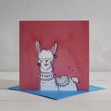 Buy Red Llama Greetings Card 'Larry' from Helen Wiseman Illustration