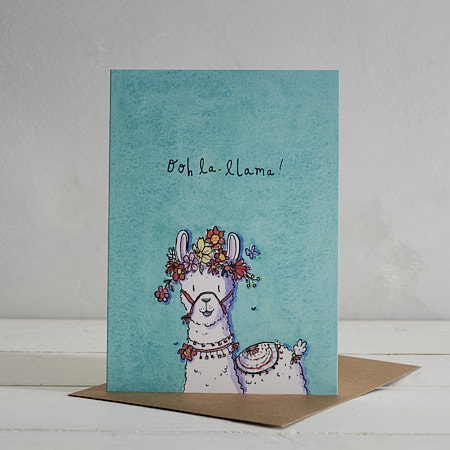 Buy Ooh La Llama Greetings Card from Helen Wiseman Illustration