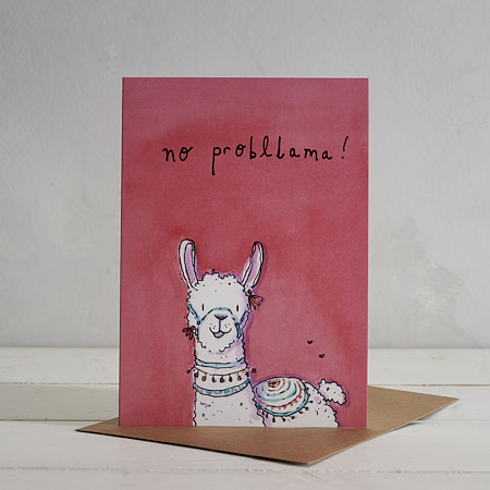 Buy No Probllama Llama Greetings Card from Helen Wiseman Illustration
