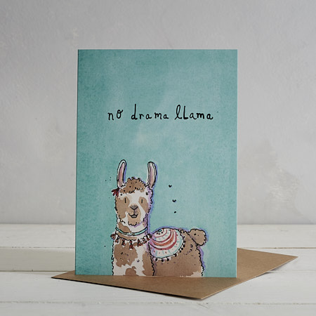 Buy No Drama Llama Greetings Card from Helen Wiseman Illustration