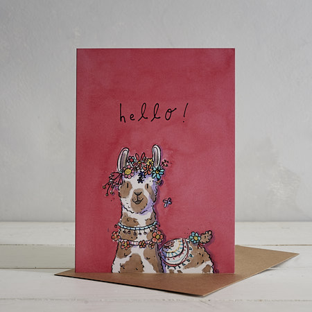 Buy Hello Llama Greetings Card from Helen Wiseman Illustration