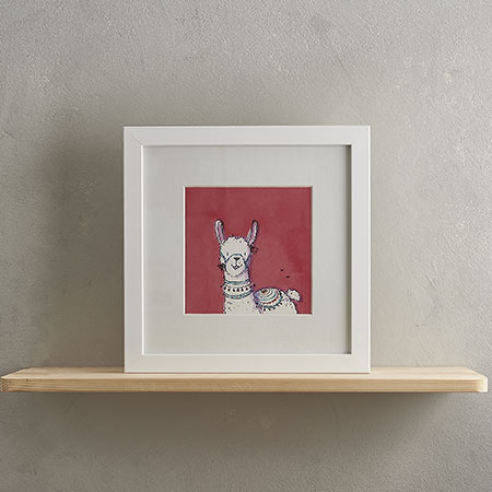 White Llama Print with Frame 'Lily'