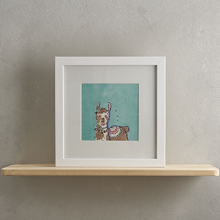 Brown Llama Print with Frame 'Larry'