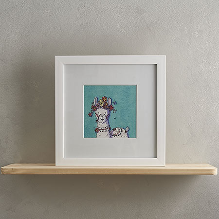 Buy White Llama and Flowers Print with Frame 'Loretta' from Helen Wiseman Illustration