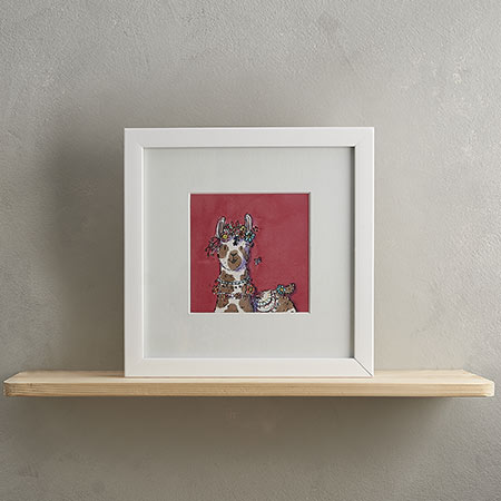 Brown Llama and Flowers Print with Frame 'Lucille'