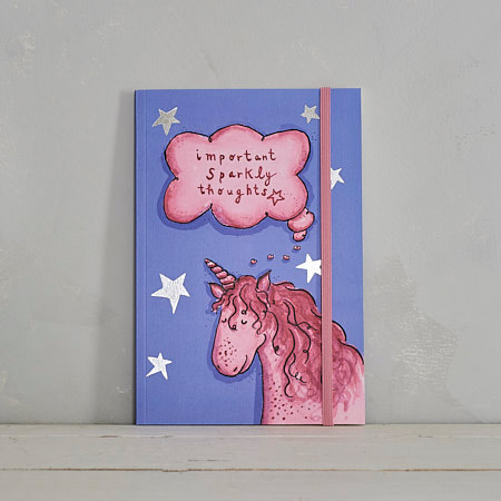Buy Important Sparkly Thoughts Unicorn Notebook from Helen Wiseman Illustration