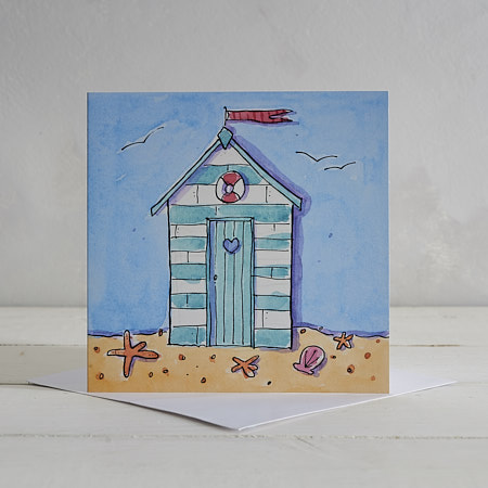 Buy Beach Hut Greetings Card from Helen Wiseman Illustration
