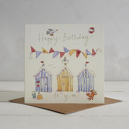 Buy Happy Birthday Beach Huts Greetings Card from Helen Wiseman Illustration