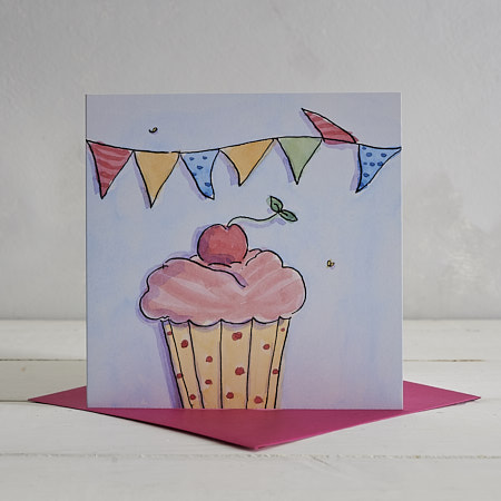 Buy Cupcake Greetings Card from Helen Wiseman Illustration