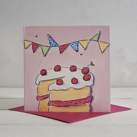 Buy Cherry Cake Greetings Card from Helen Wiseman Illustration