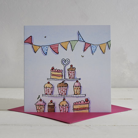 Buy Cake Plate Greetings Card from Helen Wiseman Illustration