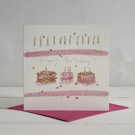 Happy Birthday 3 Cakes Greetings Card
