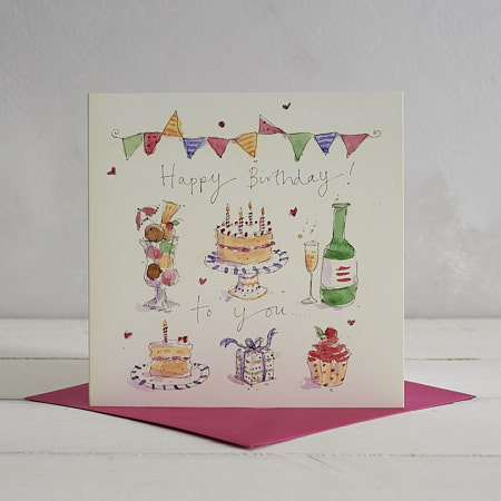 Buy Happy Birthday Cake and Wine Greetings Card from Helen Wiseman Illustration