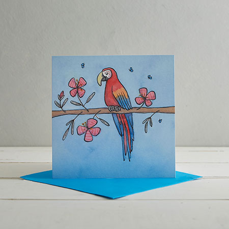 Buy Parrot Greetings Card from Helen Wiseman Illustration