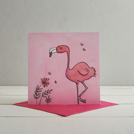 Buy Flamingo Greetings Card from Helen Wiseman Illustration