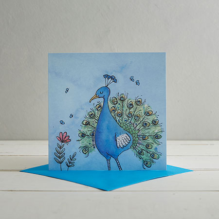 Buy Peacock Greetings Card from Helen Wiseman Illustration
