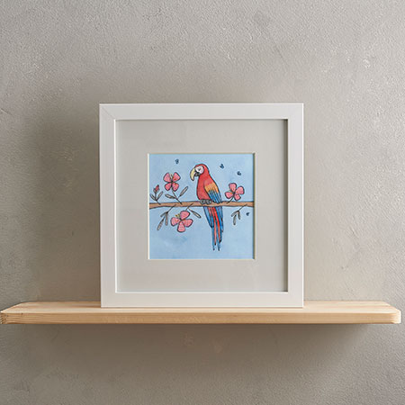Buy Parrot Print with Frame from Helen Wiseman Illustration