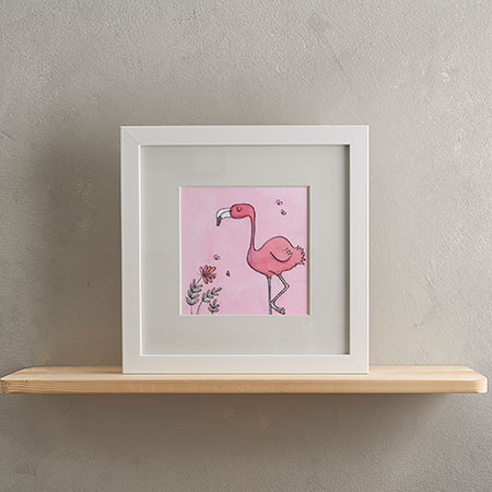 Buy Flamingo Print with Frame from Helen Wiseman Illustration