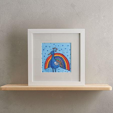 Rainbow Peacock Print with Frame