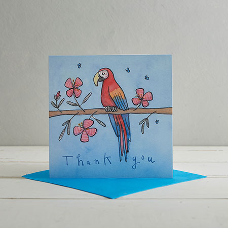 Buy Thank You Parrot Greetings Card from Helen Wiseman Illustration