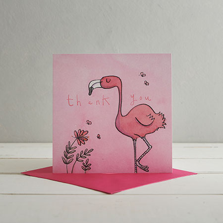 Buy Thank You Flamingo Greetings Card from Helen Wiseman Illustration