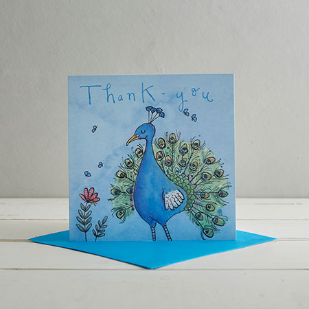 Buy Thank You Peacock Greetings Card from Helen Wiseman Illustration