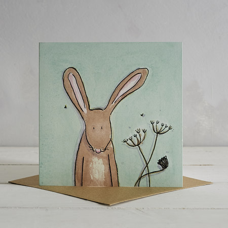 Buy Hare Greetings Card 'Horace' from Helen Wiseman Illustration