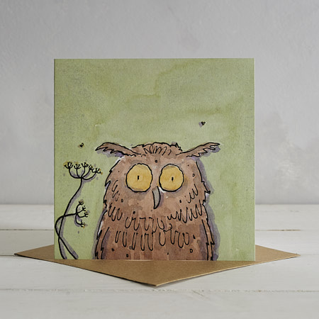 Buy Owl Greetings Card 'Ollie' from Helen Wiseman Illustration