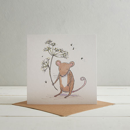 Buy Mouse & Flower Greetings Card from Helen Wiseman Illustration