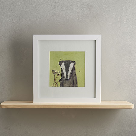Buy Badger Print with Frame 'Barry' from Helen Wiseman Illustration