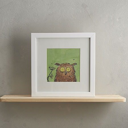 Buy Owl Print with Frame 'Ollie' from Helen Wiseman Illustration