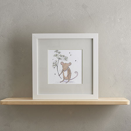 Buy Mouse & Flower Print with Frame from Helen Wiseman Illustration