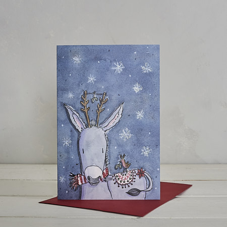 Buy Christmas Donkey Christmas Card from Helen Wiseman Illustration