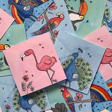 Buy Tropical Bird Greetings Cards from Helen Wiseman Illustration